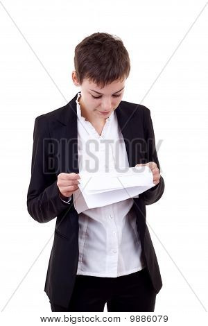 Woman Reads Document