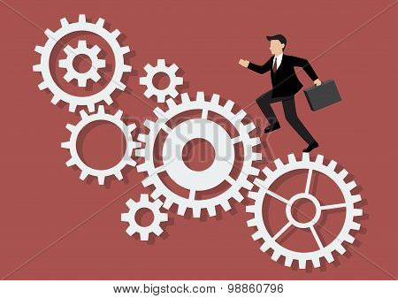 Businessman Running On Mechanism System