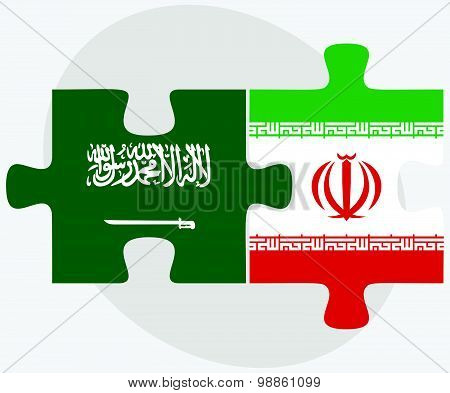 Saudi Arabia And Iran Flags