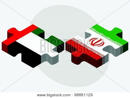 United Arab Emirates And Iran Flags