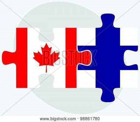 Canada And Finland Flags