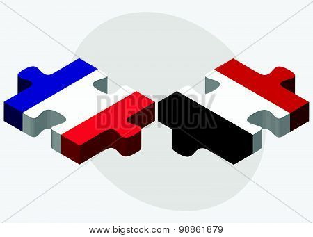 France And Yemen Flags