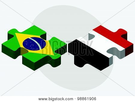 Brazil And Yemen Flags