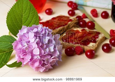 Fresh Hydrangea Bloom On Board With Toasts