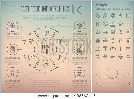 Fast food infographic template and elements. The template includes the following set of icons - hot meal. fries, cheeseburger, hotdog sandwich, barbecue, taco, spiral bread  and more. Modern