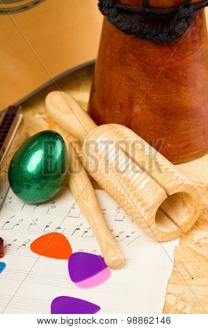 Guiro And Egg Shaker With Other Instruments