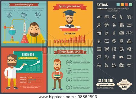 Education infographic template and elements. The template includes illustrations of hipster men and huge awesome set of thin line icons. Modern minimalistic flat vector design.