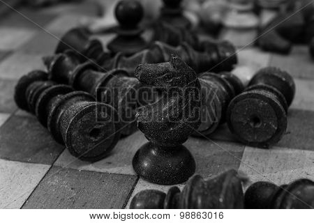 Dusty Chess Figures With The Last Man Standing Being A Horse....