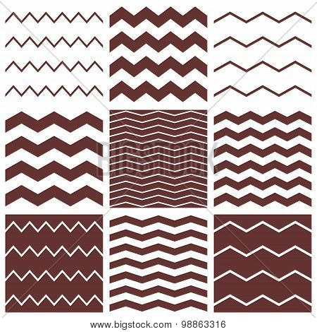 Tile vector pattern set with brown and white zig zag background