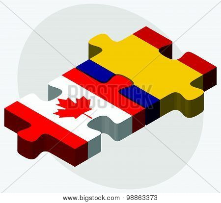 Canada And Romania Flags