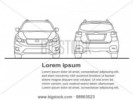Vector illustration of car line art