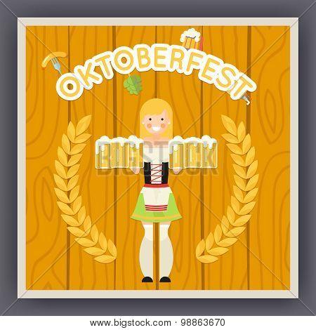 Oktoberfest Festival Celebration Poster Symbol Happy Female Girl Holds Mug of Beer with Foam Icon on