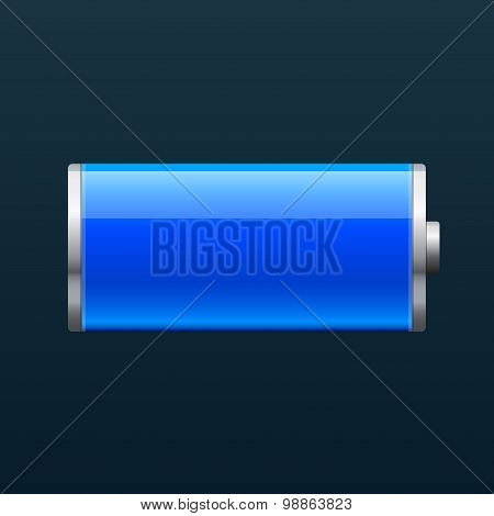 Full glossy battery icon, on black background