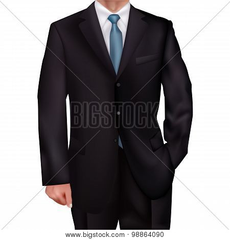 Suit With A Blue Tie-style Realism Backgrounds For Invitations, Gift Cards, Business Gifts