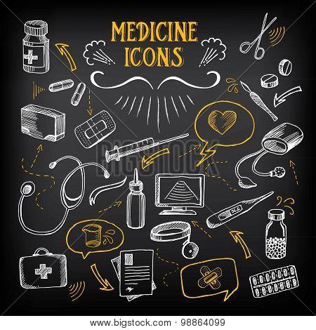 Medical icons, sketch design. Healthcare drawing chalkboard.