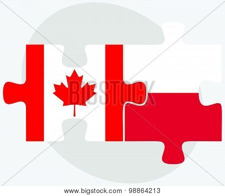 Canada And Poland Flags