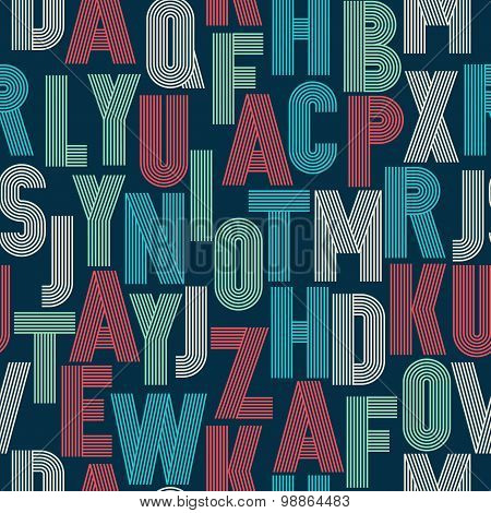 Retro Stripes Funky Fonts Seamless Pattern.