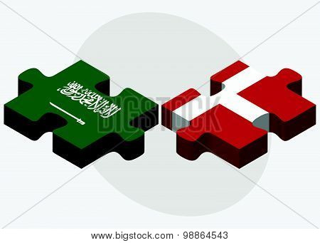 Saudi Arabia And Kingdom Of Denmark Flags