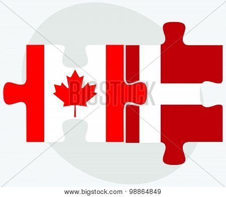 Canada And Kingdom Of Denmark Flags