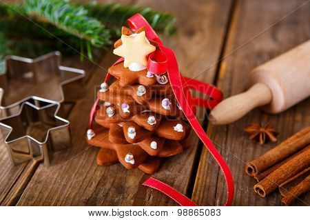 Homemade Baked Christmas Gingerbread Tree On Vintage Wooden Background