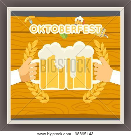Oktoberfest Festival Celebration Poster Symbol Holds Mug of Beer with Foam Icon on Stylish Backgroun