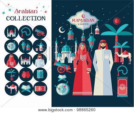 Ramadan Kareem Icons Set Of Arabian. Flat Design.