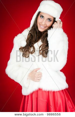 Attractive Winter Woman In Costume Posing