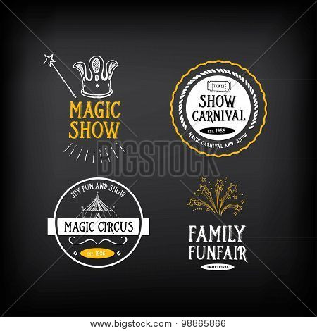 Circus and carnival vintage design, label elements. Vector with