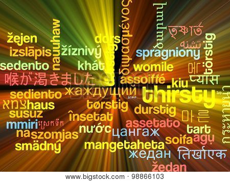 Background concept wordcloud multilanguage international many language illustration of thirsty glowing light