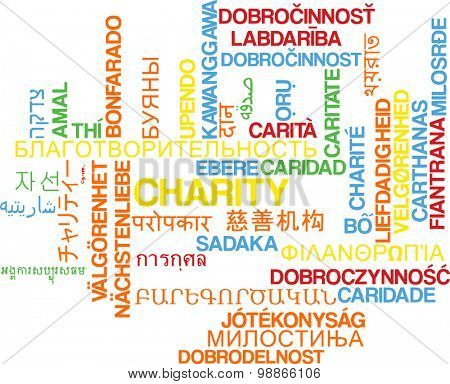 Background concept wordcloud multilanguage international many language illustration of charity