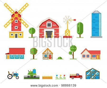 Rural buildings cottages tractor combine pickup icons isolated set vector illustration