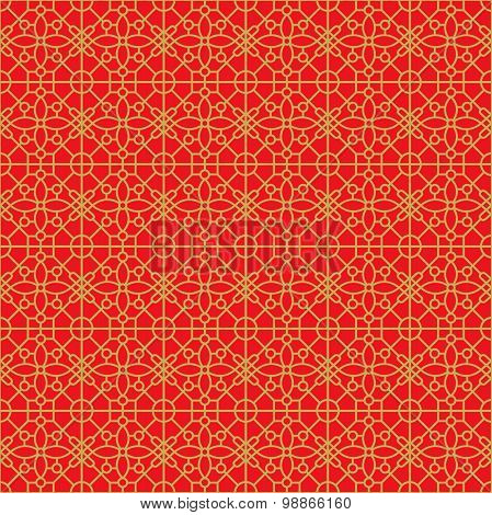 Golden seamless Chinese window tracery lattice geometry square flower pattern background.