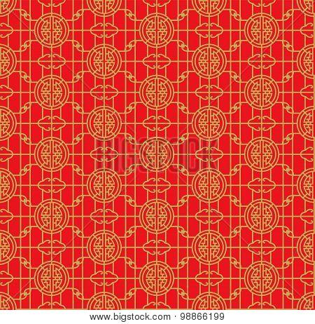Golden seamless Chinese window tracery lattice geometry round pattern background.