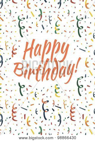 Happy birthday card cover with colorful serpentine and confetti on background