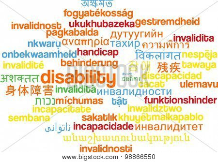 Background concept wordcloud multilanguage international many language illustration of disability