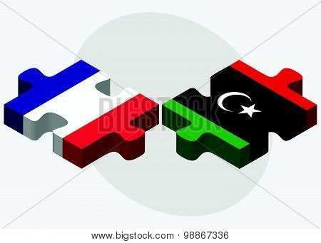 France And Libya Flags
