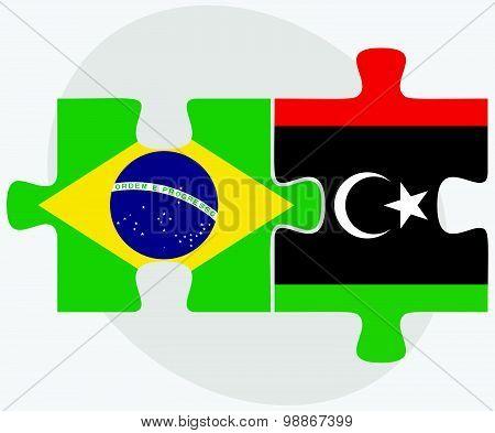 Brazil And Libya Flags