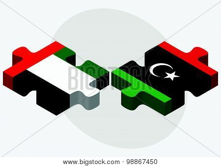 United Arab Emirates And Libya Flags