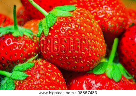 Delicious Ripe Strawberries Closeup..