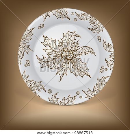 Decorative plate with Christmas holly