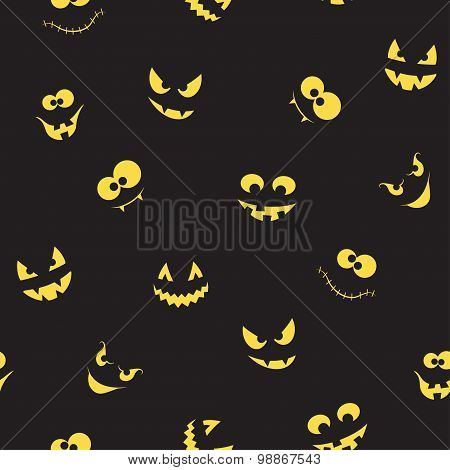 Creepy Faces Seamless Background