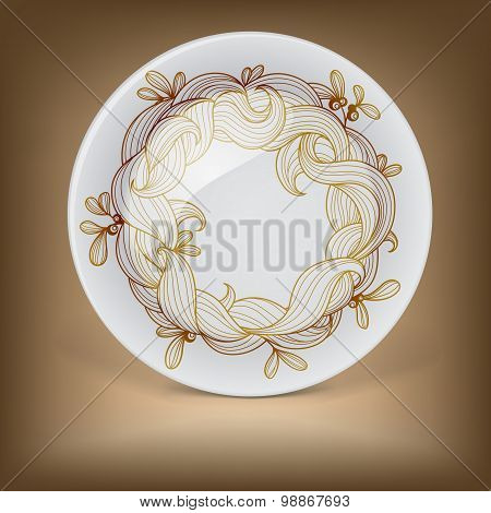 Christmas decorative plate with wreath from mistletoe