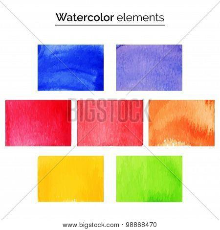 Multicolored watercolor design elements.