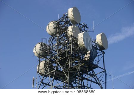 Telecommunications mast with aerials and dishes