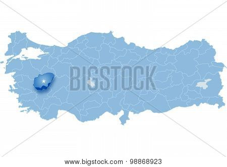 Map Of Turkey, Usak