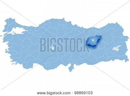 Map Of Turkey, Tunceli