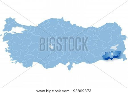 Map Of Turkey, Sirnak