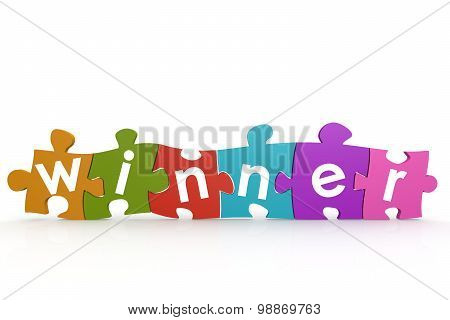 Colorful Puzzle With Winner Word