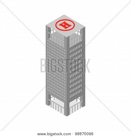Flat 3D Isometric Skyscraper Business Center On The Roof Helipad. Isolated On White Background. Vect