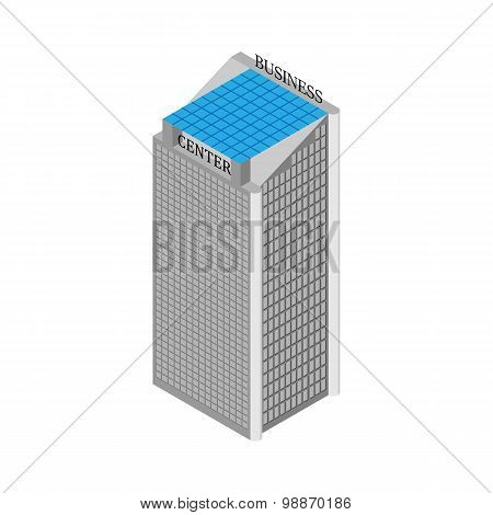 Isometric Business Center Building With Elevators And Roof Of Solar Panels. Isolated On White Backgr